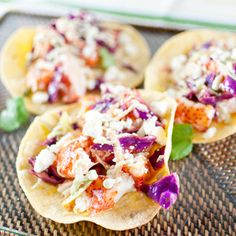 lobster tacos with chili-lime slaw and avocado crema — kitchen lush Lobster Recipes, Fish Recipes, Seafood Recipes, Mexican Food Recipes, Cooking Recipes, Lobster Appetizers, Seafood Meals, Mexican Meals, Salmon Recipes
