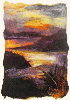 West Loch Tarbert, felted merino wool & silk by Debra Esterhuizen - beautiful colours and composition, can't believe it's felt! Needle Felting Kits, Needle Felting Tutorials, Wet Felting, Felt Wall Hanging, Felt Pictures, Felt Embroidery, Wool Art, Landscape Quilts, Felt Art