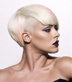 A short blonde straight coloured shaved sides hairstyle by Hype Coiffure.    Do I dare?