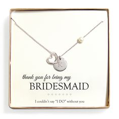 Cathy's Concepts 'Bridesmaid Thank You' FW Pearl Heart Necklace   Overstock.com