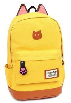 Amazon.com: AM Landen Super Cute Light Weight Canvas CAT Ears Backpacks (Cat Navy Blue): Clothing
