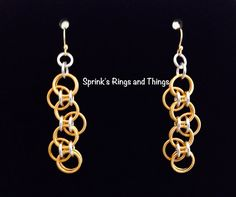 Chain maille earrings  Bubbles in GOLD by Sprinksrings on Etsy