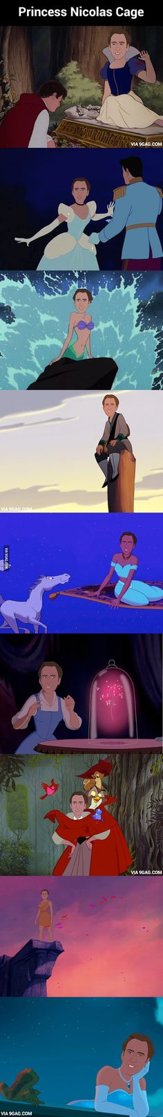 """Princess Nicolas Cage - just when you thought """"Disney Nicholas Cage"""" meant National Treasure Nicolas Cage, Funny Memes, Hilarious, Jokes, Funny Quotes, Laugh Quotes, Disney And Dreamworks, Disney Pixar, Funny Disney"""