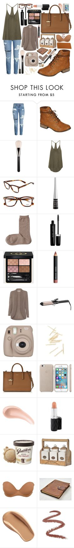 """Nudes and Browns rustic look"" by annalaris on Polyvore featuring Breckelle's, MAC Cosmetics, Enza Costa, Ray-Ban, Wet n Wild, Marc Jacobs, Gucci, Bobbi Brown Cosmetics, Rani Arabella and Conair"