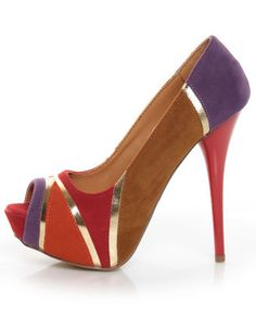 What a heel!!! Qupid Neutral 196 Red Velvet Retro Color Block Platform Pumps