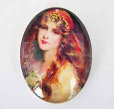Beautiful Gypsy Woman | Gypsy Woman Porcelain 30x40mm CabochonsPair by gypsyspiritstudio