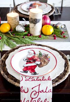 Classic Reds and Rustic Plaids Christmas Home Tour 2015 | Christmas Dining Room with fresh fruit and candles centerpiece