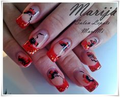 Nail art from the NAILS Magazine Nail Art Gallery, hand-painted, floral, Nail Art Galleries, Nails Magazine, Nail Designs, Art Gallery, Hand Painted, Floral, Red, Painting, Black