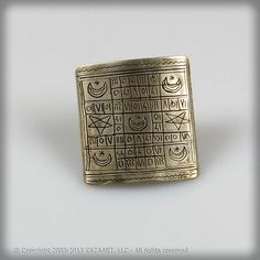 Old Tuareg African Silver Ring with Magic Script, Mali - Please contact me at info@kazaart.com for any inquiries or comments