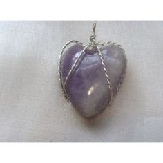 Wire wrapped Amethyst heart pendant, 33mm