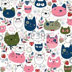Pink and navy cats illustration Free Vector Cat Wallpaper, Pattern Wallpaper, Pattern Illustration, Graphic Design Illustration, Textures Patterns, Print Patterns, Cat Art Print, Maneki Neko, Cat Pattern