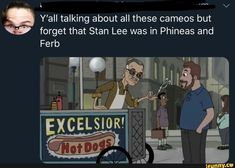Stan lee cameo phineas and ferb Phineas And Ferb Memes, Phineas Und Ferb, Marvel Jokes, Marvel Funny, Disney Memes, Marvel Cinematic Universe, Marvel Avengers, Funny Jokes, Hilarious