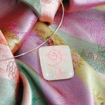 Pink Decal Glass Necklace | AllFreeJewelryMaking.com