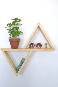 Unstained/ No Finish Geometric Shelf II