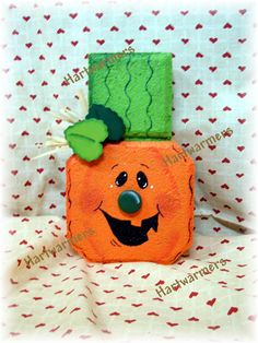 Painted Paver Pete Pumpkin maybe have the leaf on a spring also. Painted Bricks Crafts, Brick Crafts, Painted Pavers, Concrete Crafts, Stone Crafts, Painted Rocks, Hand Painted, Cement Pavers, Brick Pavers