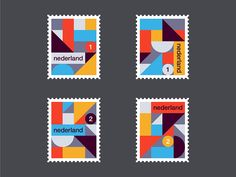 Rick Jordens - Dutch stamp design  https://dribbble.com/shots/3193152-Dutch-stamps