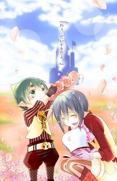 Awwww!! This is so kawaii! Amaimon and his big brother Mephisto! I love Mephisto!