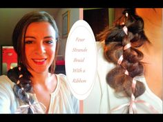 Four Strands Braid With a Ribbon | hairstyle tutorial