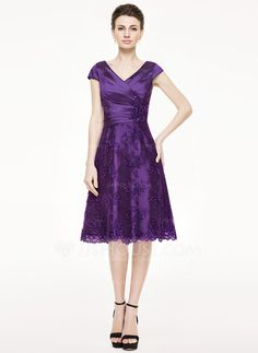 A-Line/Princess V-neck Knee-Length Taffeta Lace Mother of the Bride Dress With Ruffle Beading Sequins (008062862)