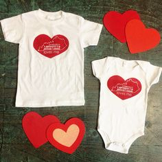 """We now have the cutest hand printed """"Somebody in Louisville loves me"""" toddler tees and onesies in the shop for the little ones in your life! ❤️  #heytiger #shopheytiger #shopbardstownroad #supporthandmade #supportsmallbusiness #handmade #handprinted #buyhandmade #madeinusa #louisville #kentucky #forthekids #tee #onesie #valentines #vday #love #lovewins #loveisintheair"""