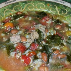My father, Joey Romano has a gift for creating incredible homemade Italian soup recipes out of, what seems like, just a clove of garlic! Italian Soup Recipes, Sausage And Kale Soup, Homemade Soup, Vegetables, Healthy, Unique, Food, Veggies, Essen