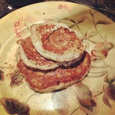 Egg white oatmeal pancakes - 4 egg whites, 1/2 cup oatmeal and some cinnamon, add blueberries for extra flavor