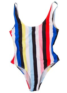 Rainbow will get you retro! With the lovely color of a rainbow you will definitely shine bright on the beach. The deep U-neckline and the bright colors of the one piece bathing suit will accentuate your gorgeous tanned back. * Striped swimsuit * Padded * Cheeky bottom * Deep back * 82% Nylon, 18% Spandex CLICK HERE TO CONVERT CURRENCY Swimwear is an intimate product and because of hygiene reasons we do not accept that you return a product with a broken sealing.