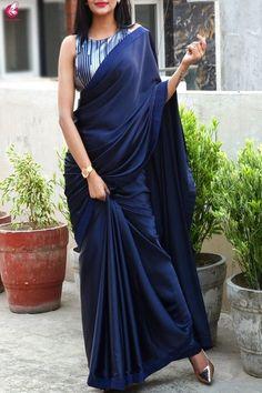 Best 11 Buy Blue Satin Dupion Silk Taping Saree – Sarees Online in India Trendy Sarees, Stylish Sarees, Fancy Sarees, Saree Blouse Patterns, Sari Blouse Designs, Designer Saree Blouses, Satin Saree, Silk Sarees, Net Saree