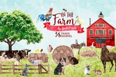 Farm Animals - Watercolor Cliparts by StudioDesset on @creativemarket