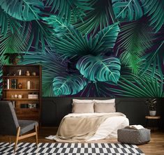 Tropic leaves monstera mural print painting home Mural Floral, Plywood Walls, Wall Art Wallpaper, Peel And Stick Wallpaper, Tropical Wallpaper, Wall Decor Stickers, New Living Room, Textured Walls, Bedroom Wall