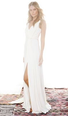 Halston Heritage Draped Cowl Back Gown in Bone | REVOLVE for a beach wedding