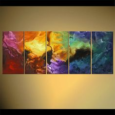 "Modern Multi-Panel Painting, Colorful Original Abstract on Canvas by Osnat - MADE-TO-ORDER - 60""x24"""
