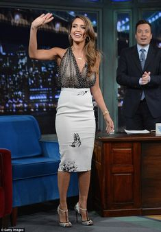 Wow factor: Jessica Alba made a lasting impression during a stylish appearance Monday on Late Night With Jimmy Fallon in New York City