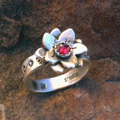 R32g Small Desert Flower with Rose Cut by SantaFeSilverworks