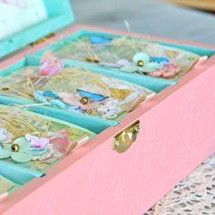 Baby girl butterflies memory box, personalized baby keepsake box - decoupage, mixed media, scrapbooking