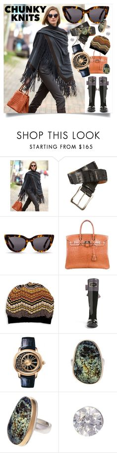 """Chunky Knits: Cozy Streetstyle Fashion"" by haikuandkysses ❤ liked on Polyvore featuring Hermès, Missoni, Joules, Audemars Piguet, Jamie Joseph and Maria Tash"