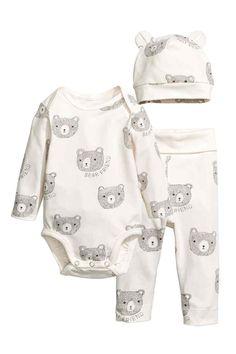 3-piece jersey set - White/Bear - Kids   H&M