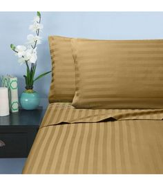 Taupe Stripe Twin Sheet Set Egyptian Cotton 1000 Thread Count