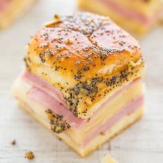 Ham and Cheese Sliders...great, used much less butter, 1-2 TBL ..maybe try adding pineapple slices?