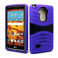 LG G Stylo LS770 Hybrid Silicone Case Cover Stand Purple
