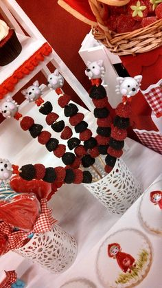 Little Red Riding Hood Birthday Party candy skewers!  See more party ideas at CatchMyParty.com!
