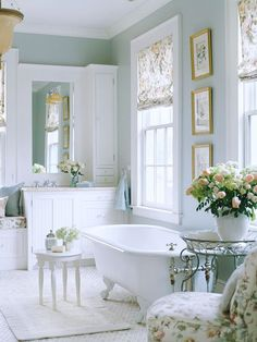So much charm! love the claw foot bath in this bathroom