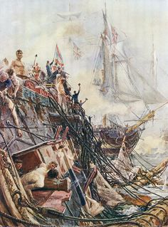 HMS Belleisle after the Battle of Trafalgar on October 1805 during the Napoleonic Wars: picture by William Lionel Wyllie