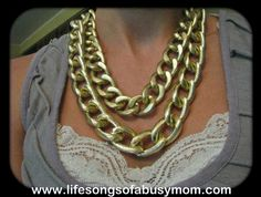 Life Songs Of A Busy Mom: What I Wore Wednesday June 2012: Double strand, chunky, chain linked necklace