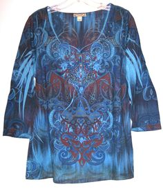 Energe Top L Blue Sublimation Rhinestone Embellished Casual Tee Tunic Shirt Lrg. #Energe #KnitTop #Casual