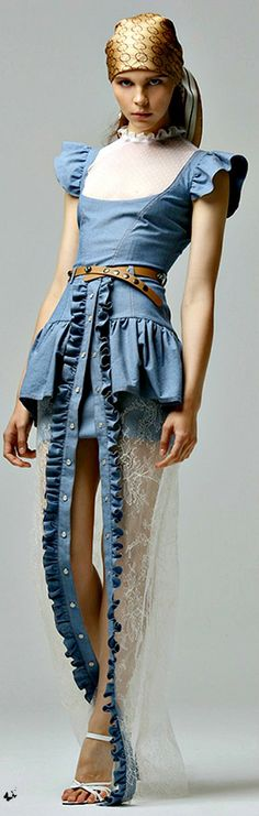 Denim and lace - Alessandra Rich for Net-a-Porter