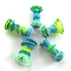 Lampwork beads Lampwork beads set Sea Wind Bells 5 SRA by gaialai, $25.00