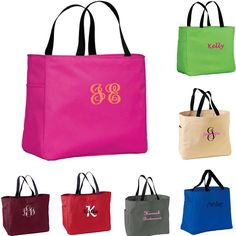 5 Personalized Bridesmaid Gift Tote Bags. $35.00, via Etsy.