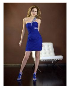 Chiffon One Shoulder Ruched Sheath Short Cocktail Dress on Sale at Persun.co.uk - $102