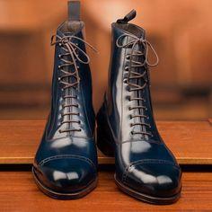 Carmina Shoemaker Navy Shell Balmoral Boots.  #carmina...